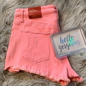 🆕 NWT MOSSIMO HOT PINK DISTRESSED SHORTS SZ 16